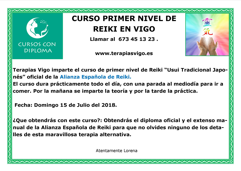 15 JULIO CURSO PRIMER NIVEL DE REIKI 1